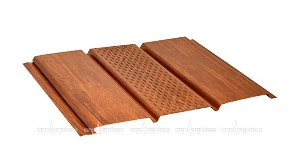Софит металлический сталь оцинкованная AquaSystem центральная перфорация Printech красное дерово Printech Naive
