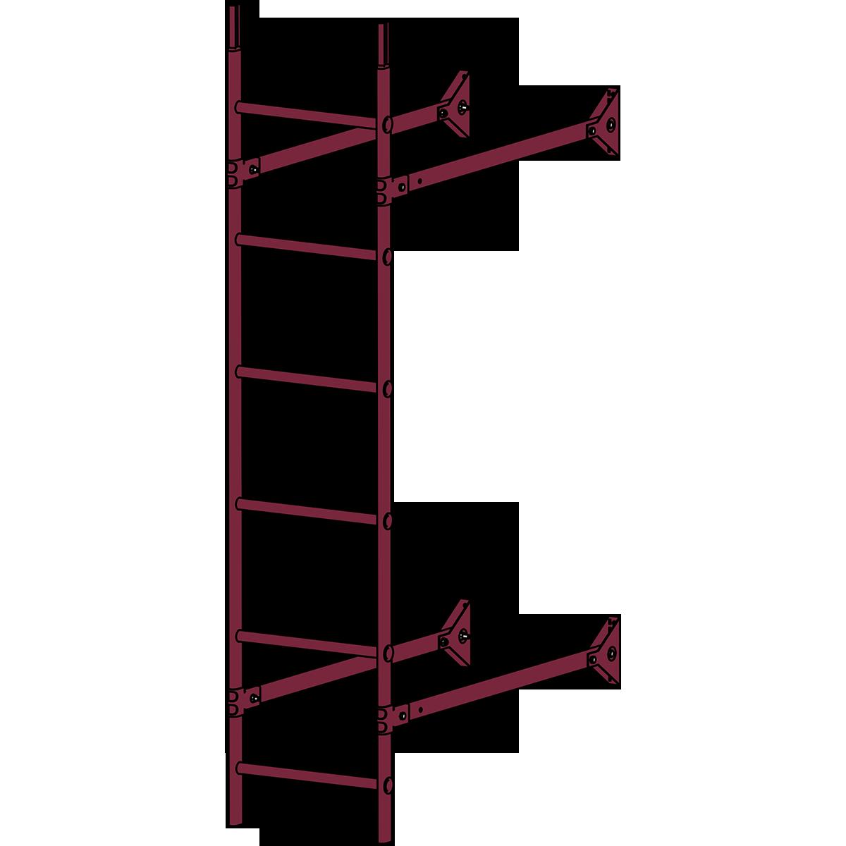 Лестница стеновая ROOFSYSTEMS ELITE 400 1,8 м RAL 3005 Красное вино