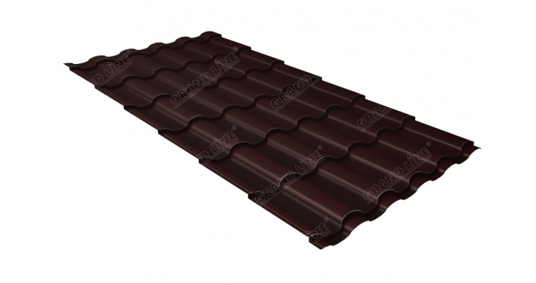 Металлочерепица кредо Grand Line 0,5 Quarzit RAL 8017 шоколад Metallic