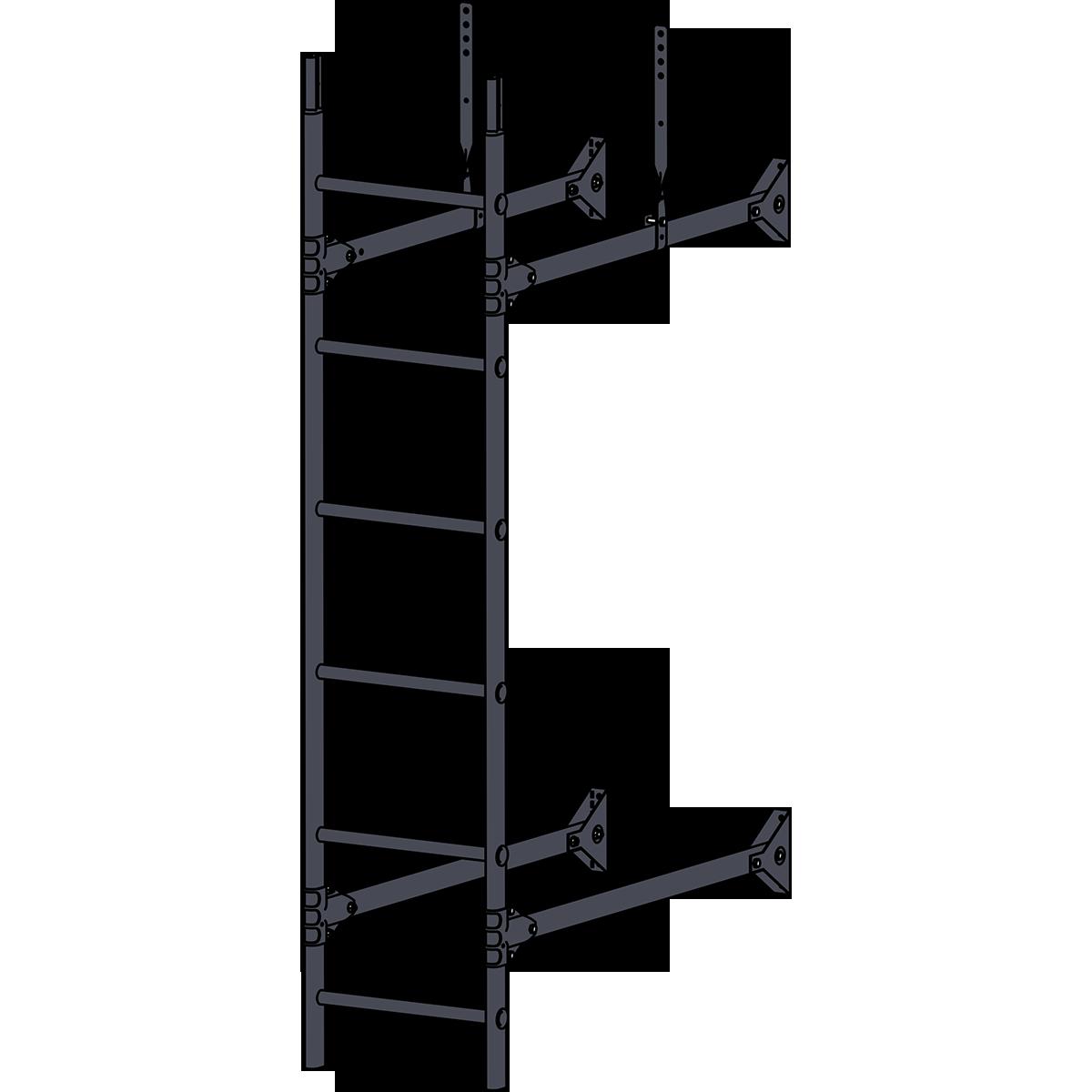 Лестница стеновая ROOFSYSTEMS PRESTIGE ZN 1,2 м RAL 7024 Серый графит