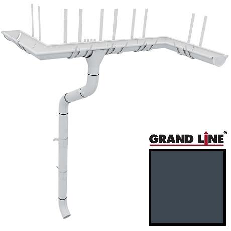 Металлический водосток Grand Line 125/90 RAL 7024 (мокрый асфальт)