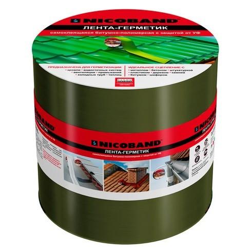 Лента герметизирующая Nicoband 10000х150 мм зеленая самоклеящаяся