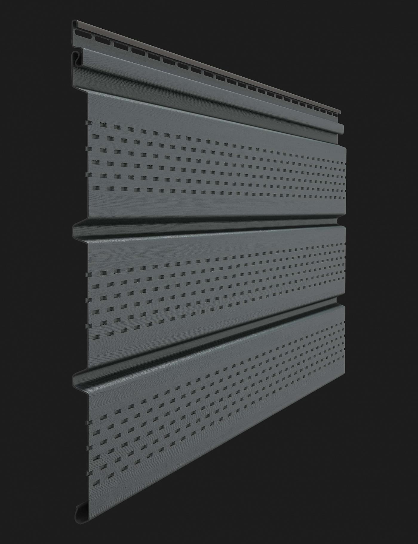 Софит пластиковый Docke Premium T4 с полной перфорацией 3000 мм Графит