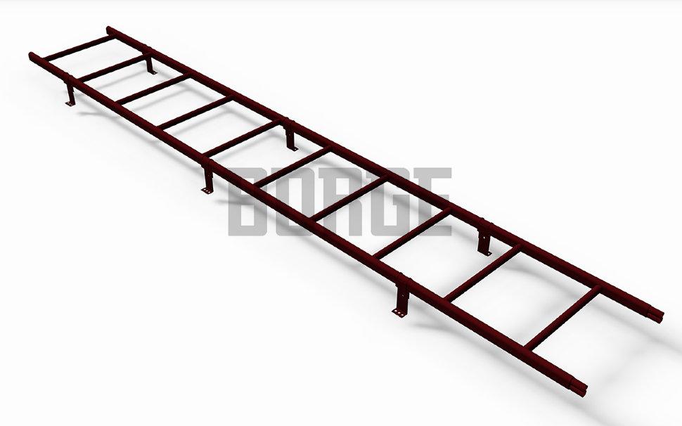 Лестница кровельная BORGE L - 3 м для профнастила RAL 3005 Красное вино