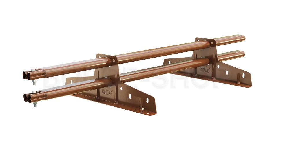 Снегозадержатель трубчатый плоскоовальный BORGE 25х45 мм, L-1 м, 2 опоры для металлочерепицы RAL 8004 Коричневая медь