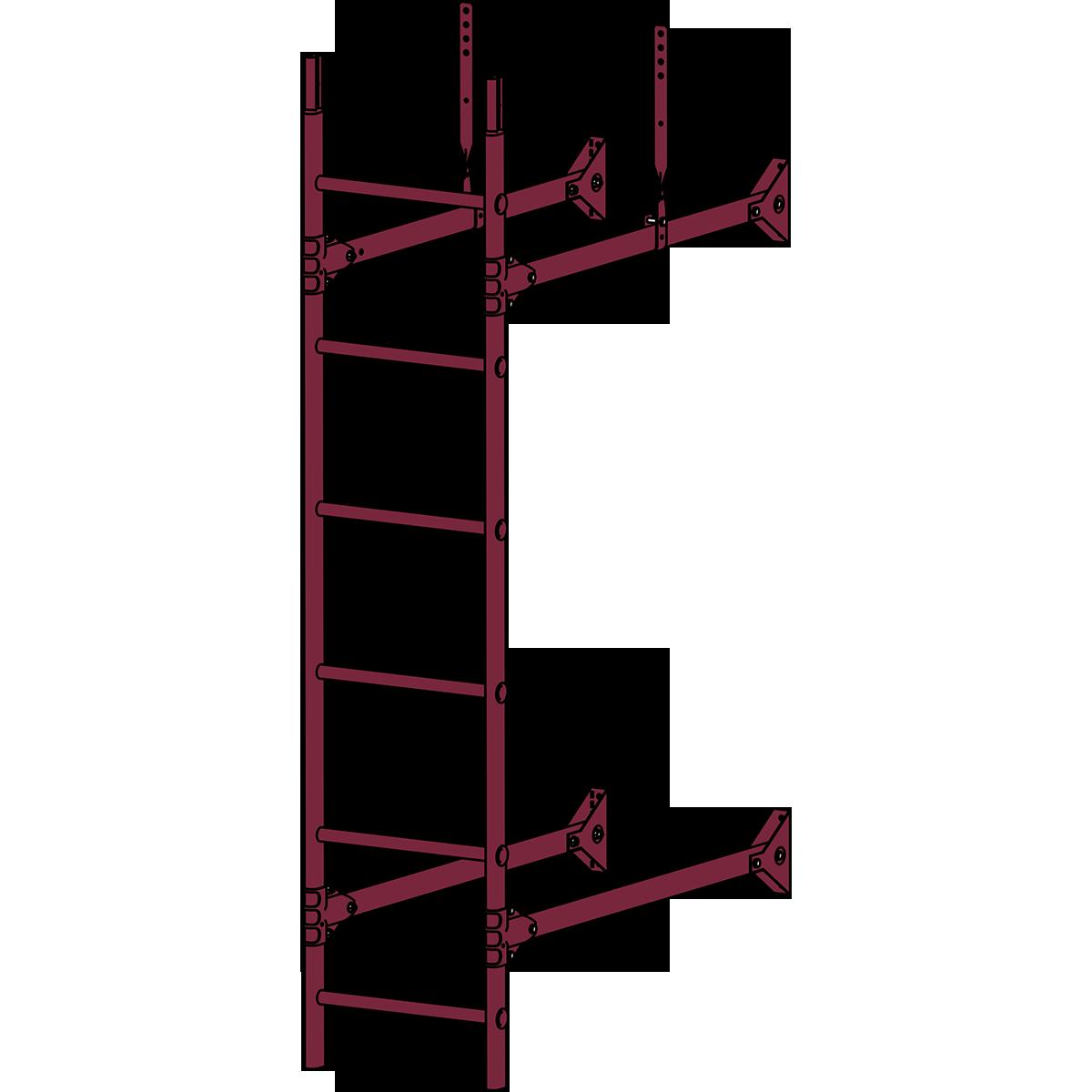 Лестница стеновая ROOFSYSTEMS PRESTIGE ZN 1,2 м RAL 3005 Красное вино