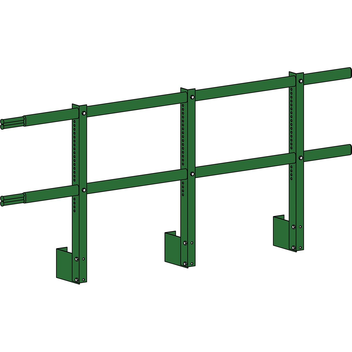 Парапетные ограждения кровли ROOFSYSTEMS Elite H-680 мм 40х20 (овал) RAL 6002 Зеленый лист
