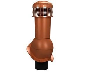 К-96 Вентиляционный выход НЕИЗОЛИРОВАННЫЙ (неутепленный) с электрическим вентилятором 305 куб.м./час D125/110 мм Н 500 мм с переходником 125/110 мм RAL 8004