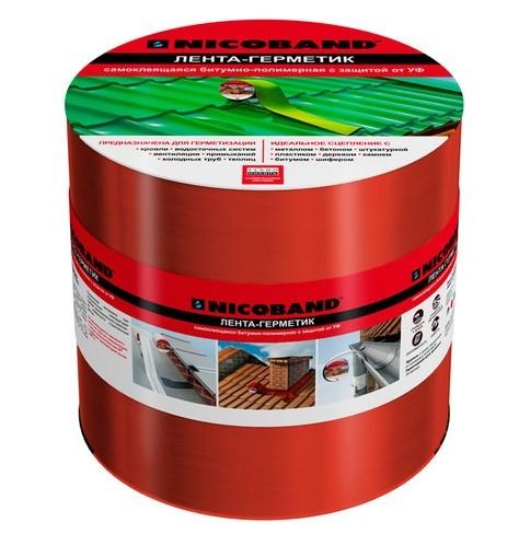 Лента герметизирующая Nicoband 10000х150 мм красная самоклеящаяся