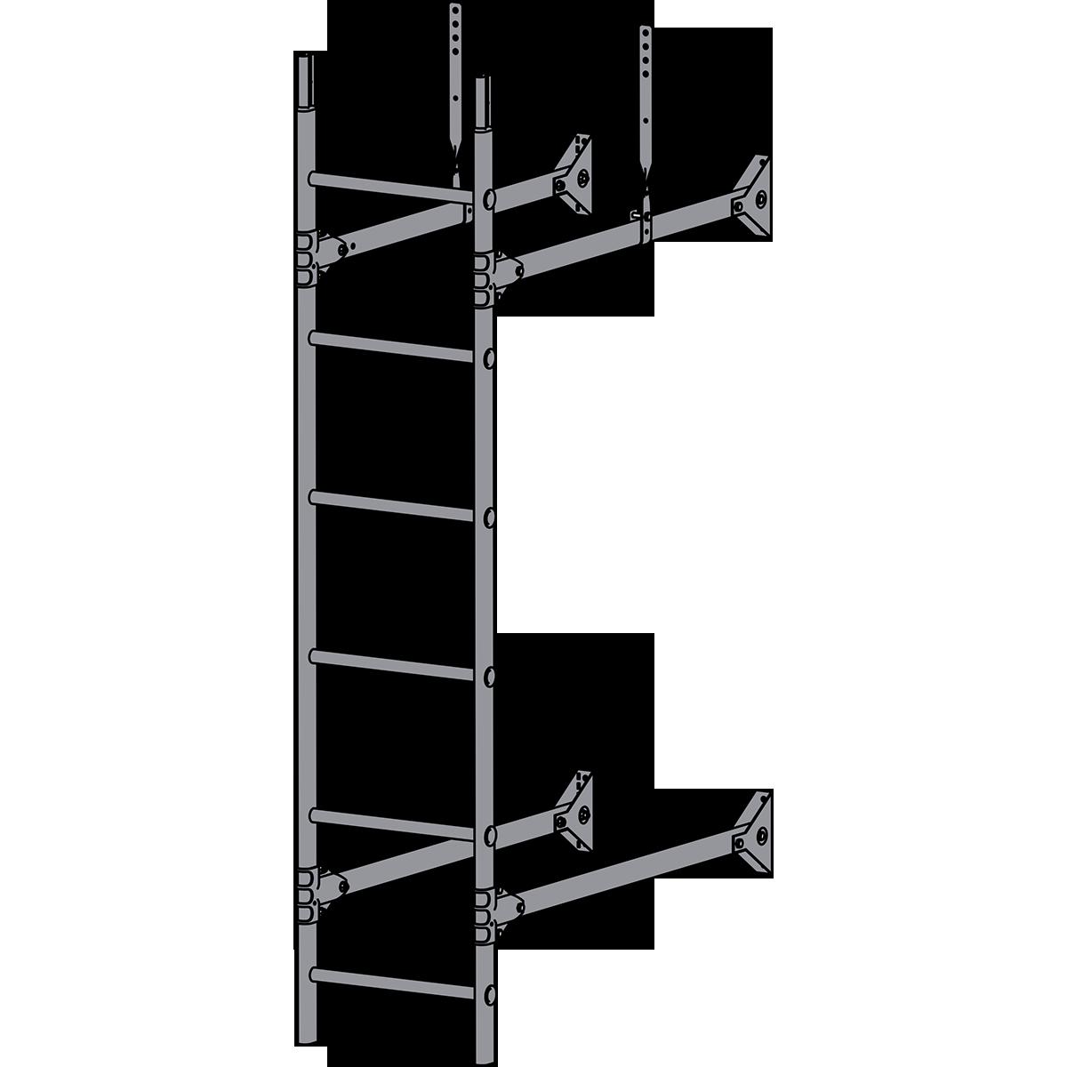 Лестница стеновая ROOFSYSTEMS PRESTIGE ZN 1,2 м RAL 7004 Серый