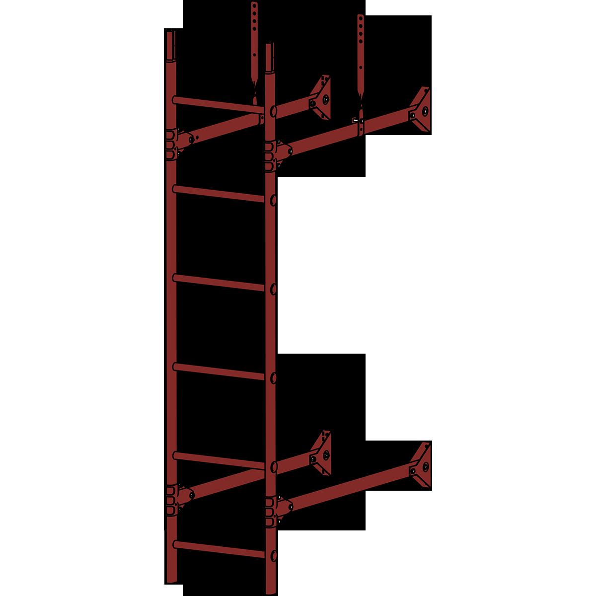 Лестница стеновая ROOFSYSTEMS PRESTIGE ZN 3м RAL 3009 Красная окись