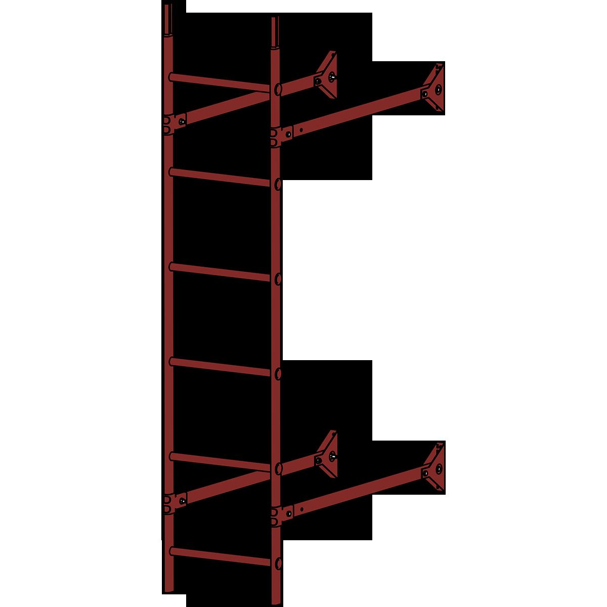 Лестница стеновая ROOFSYSTEMS ELITE 400 1,8 м RAL 3009 Красная окись