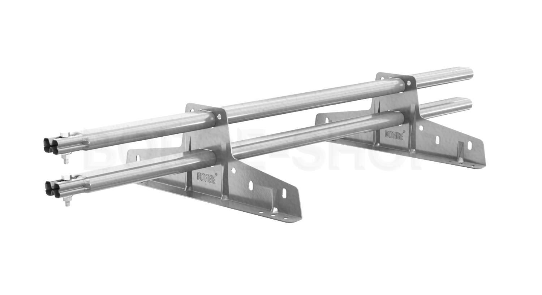 Снегозадержатель трубчатый плоскоовальный BORGE 25х45 мм, L-1 м, 2 опоры для металлочерепицы Цинк