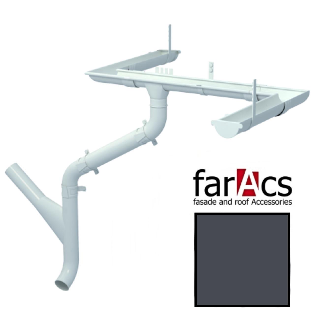 Металлический водосток Faracs 125/90 RAL 7024 (мокрый асфальт)