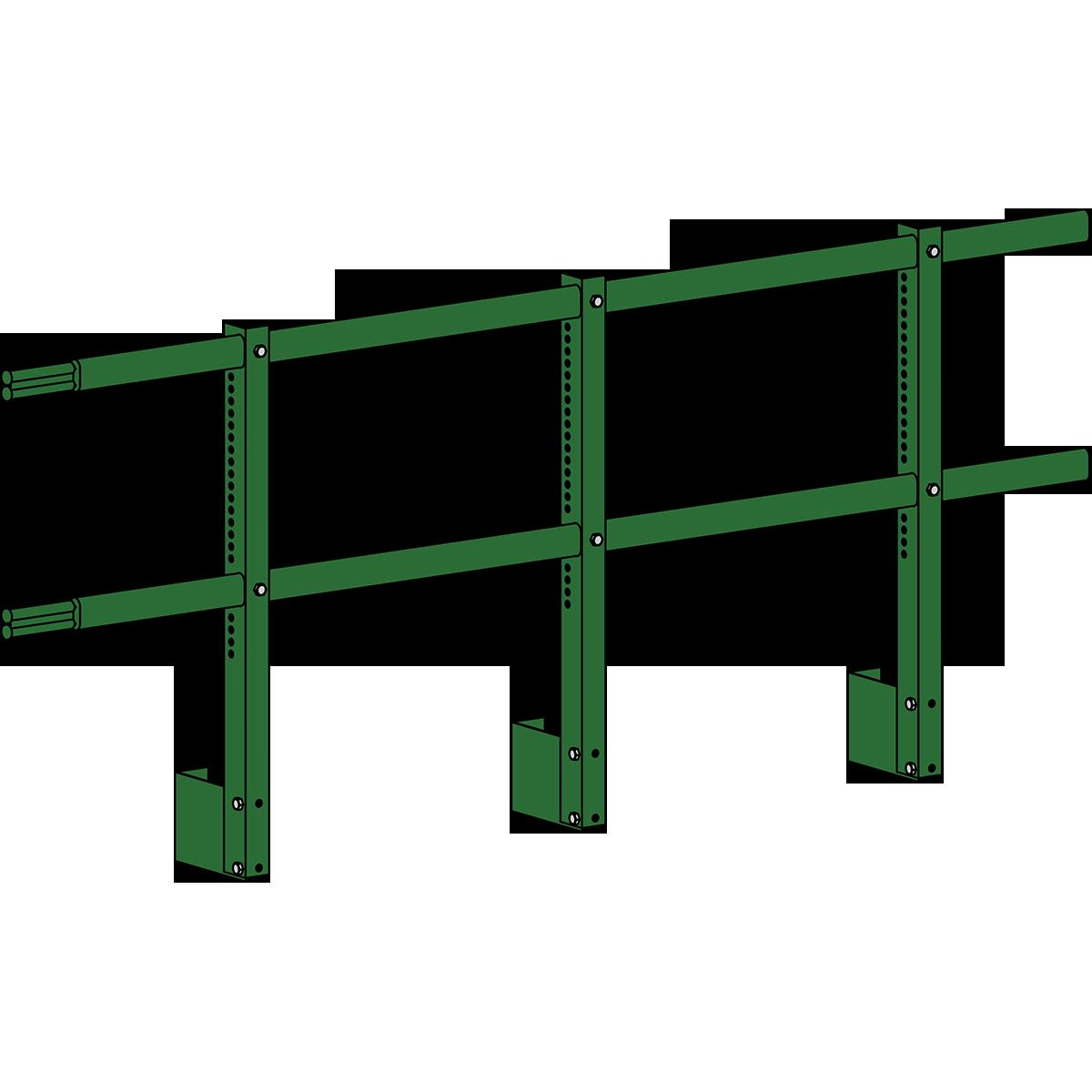 Парапетные ограждения кровли ROOFSYSTEMS Elite H-1000 мм 40х20 (овал) RAL 6002 Зеленый лист
