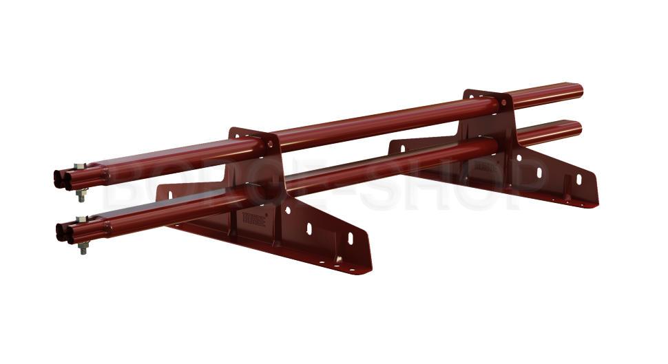 Снегозадержатель трубчатый плоскоовальный BORGE 25х45 мм, L-1 м, 2 опоры для металлочерепицы RR 29 Вишневый