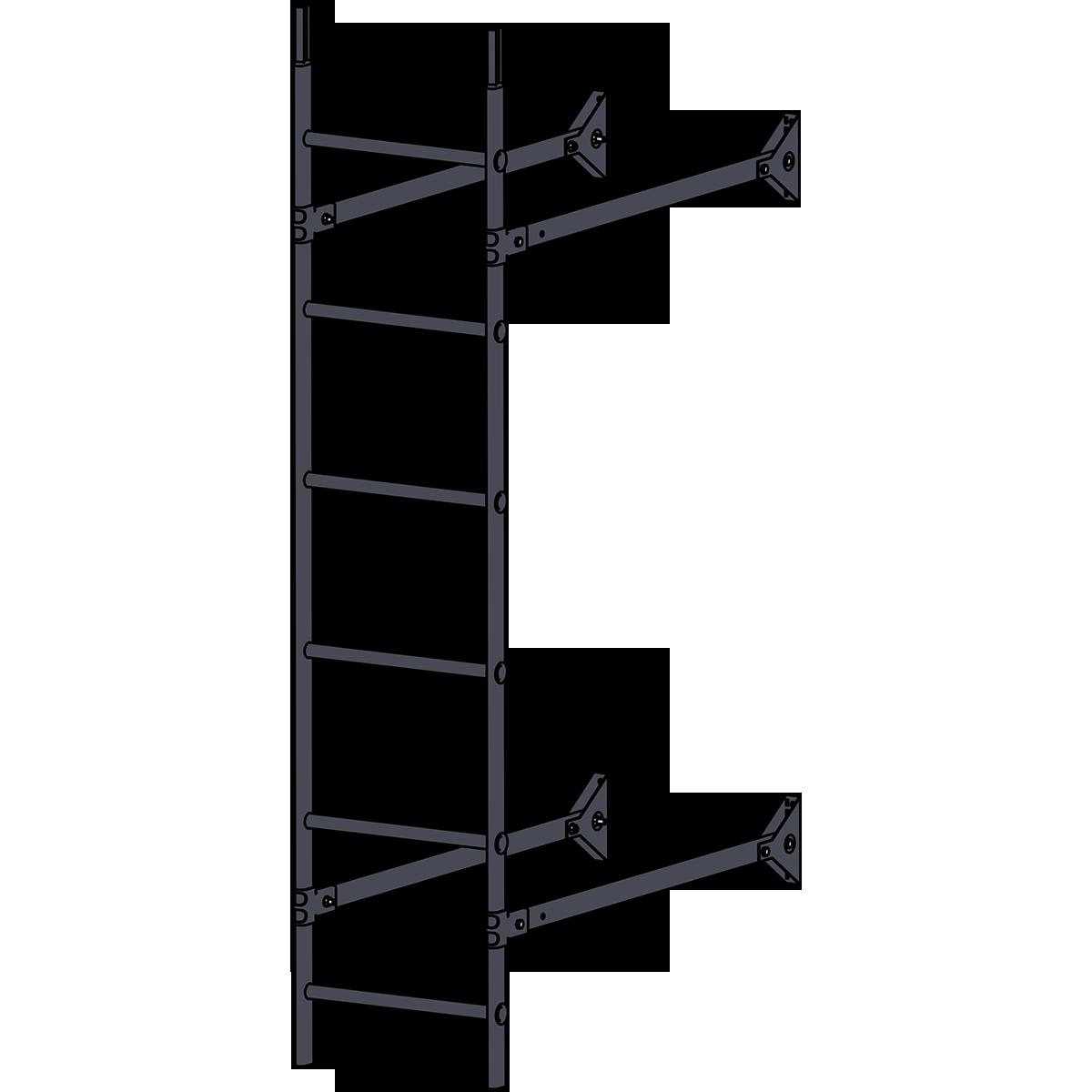 Лестница стеновая ROOFSYSTEMS ELITE 400 1,8 м RAL 7024 Серый графит