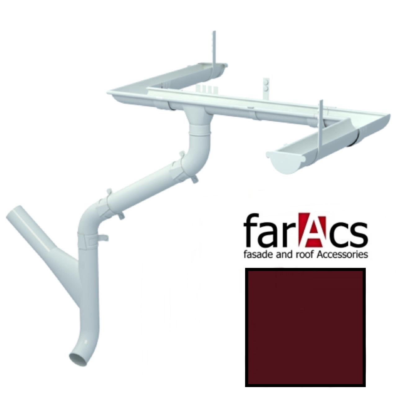 Металлический водосток Faracs 125/90 RAL 3005 (красное вино)