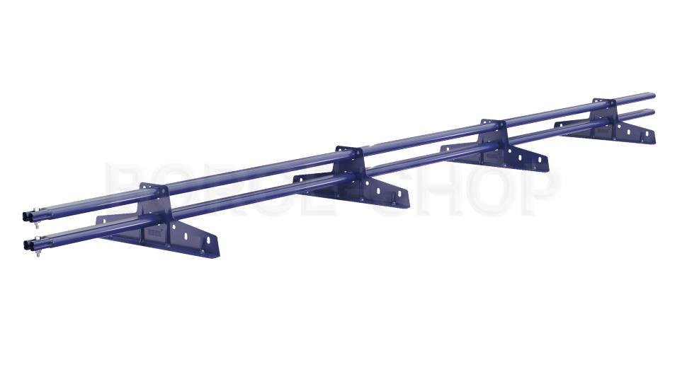 Снегозадержатель трубчатый плоскоовальный BORGE 25х45 мм, L-3 м, 4 опоры для металлочерепицы RAL 5005 Синий насыщенный