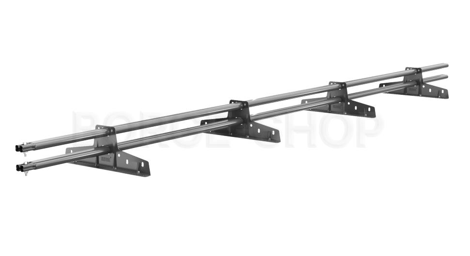 Снегозадержатель трубчатый плоскоовальный BORGE 25х45 мм, L-3 м, 4 опоры для металлочерепицы RAL 7024 Серый графит