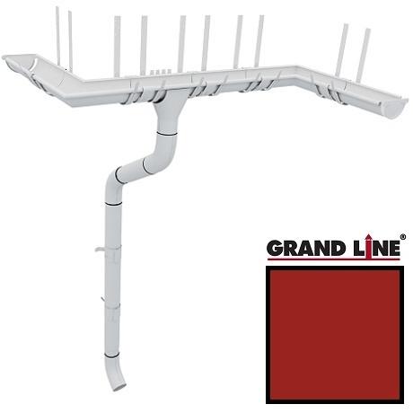 Металлический водосток Grand Line 125/90 RAL 3011 (коричнево-красный)