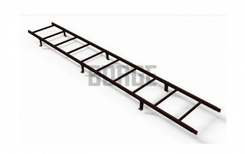 Лестница кровельная BORGE для металлочерепицы 1,8 м RAL 8017 Коричневый шоколад
