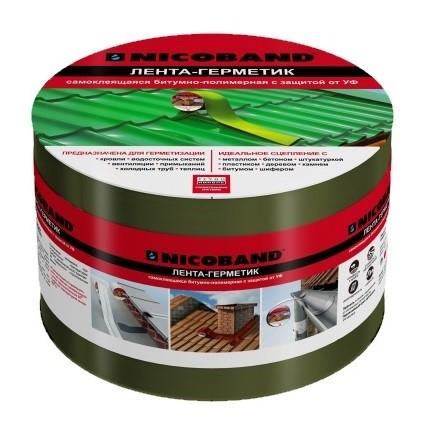 Лента герметизирующая Nicoband 10000х100 мм зеленая самоклеящаяся