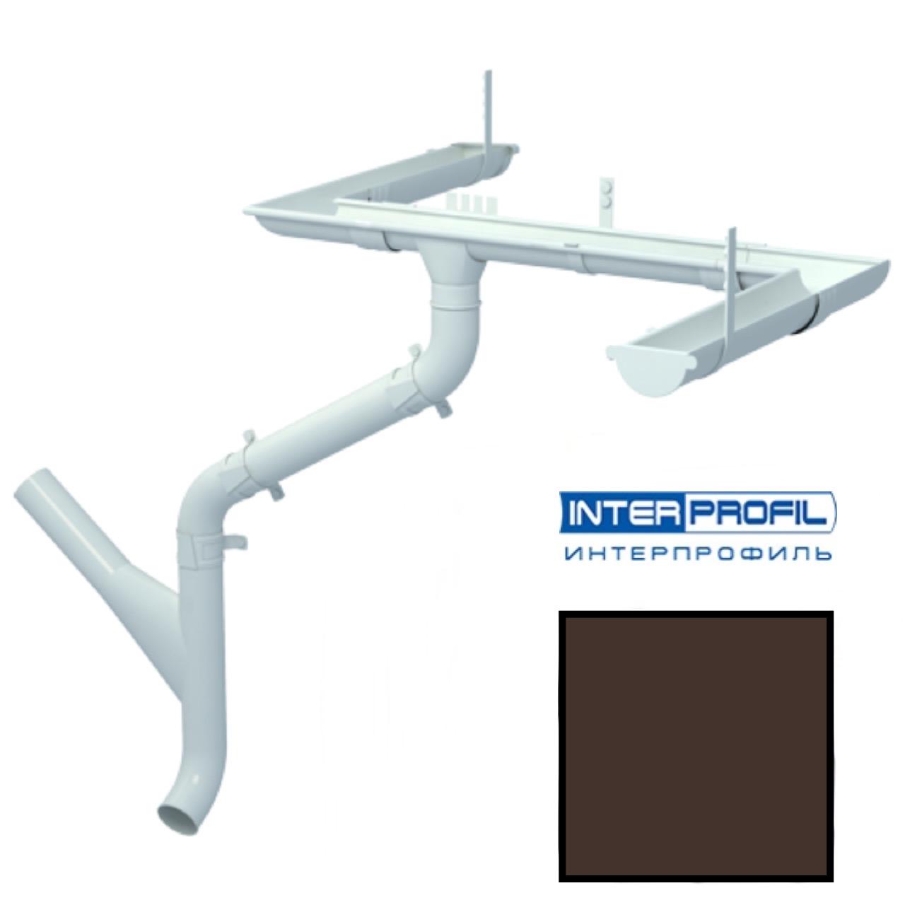 Металлический водосток Interprofil 125/90 RAL 8017 (шоколад) (Гранит)