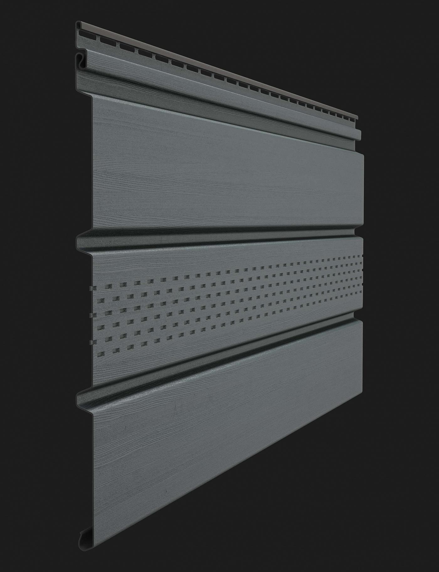 Софит пластиковый Docke Premium T4 с центральной перфорацией 3000 мм Графит
