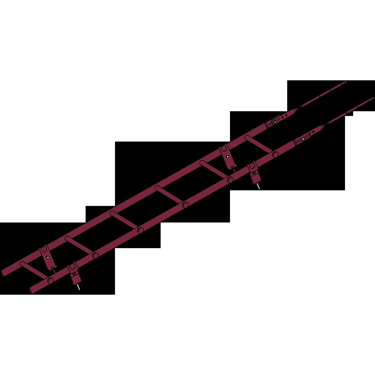 Лестница кровельная ROOFSYSTEMS PRESTIGE ZN 45х25 (овал) 400 унивеpсальная 1,2 м RAL 3005 Красное вино