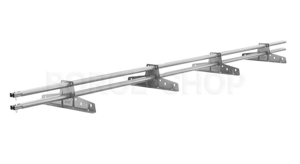 Снегозадержатель трубчатый плоскоовальный BORGE 25х45 мм, L-3 м, 4 опоры для металлочерепицы Цинк