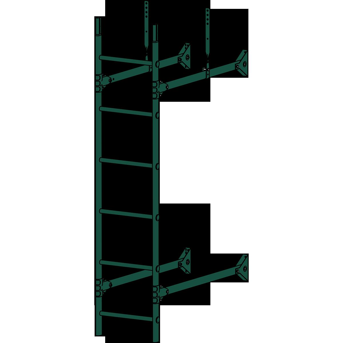 Лестница стеновая ROOFSYSTEMS PRESTIGE ZN 1,2 м RAL 6005 Зеленый мох