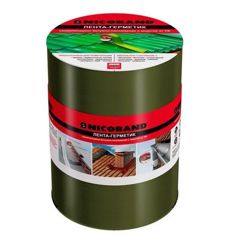 Лента герметизирующая Nicoband 10000х200 мм зеленая самоклеящаяся