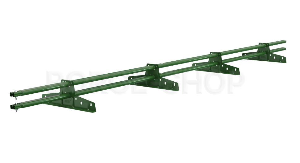 Снегозадержатель трубчатый плоскоовальный BORGE 25х45 мм, L-3 м, 4 опоры для металлочерепицы RAL 6005 Зеленый мох