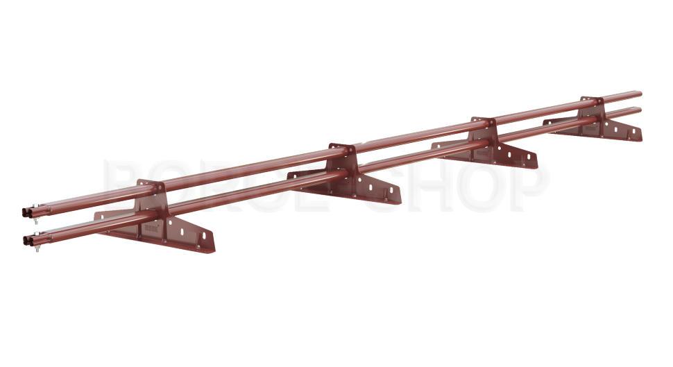 Снегозадержатель трубчатый плоскоовальный BORGE 25х45 мм, L-3 м, 4 опоры для металлочерепицы RAL 3011 Коричнево-красный
