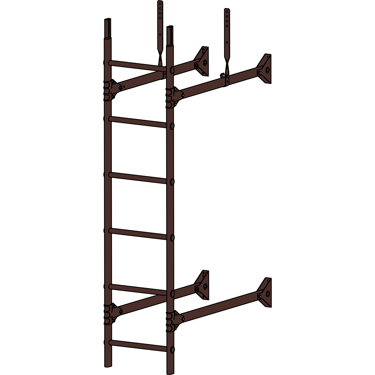 Лестница стеновая ROOFSYSTEMS PRESTIGE ZN 1,2 м RAL 8017 Коричневый шоколад